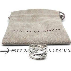 David Yurman Double X Diamond Pavé Ring Sz 8